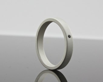 Flush Set Black Diamond Ring - 3 mm Band - Sterling Silver with Matte Finish - Simple, Modern Design - Artisan Jewelry - Minimalist Wedding