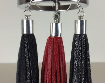 Leather Tassel Earrings, Statement Jewellery, Dangle Earrings, Long Earrings, Other Color Options! Handmade. Gift for Her, Stocking Filler