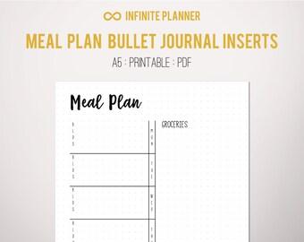 Meal Planner A5 - Bullet Journal Printable PDF