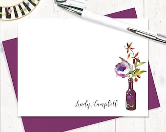 Personalized Note Card Set - floral cards - watercolor - custom cards - set of 12 flat note cards - Watercolor Flowers in PURPLE WINE BOTTLE