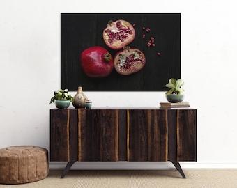pomegranate v. three // food photography print // kitchen decor // dining room // canvas art // canvas print // rustic farmhouse wall art