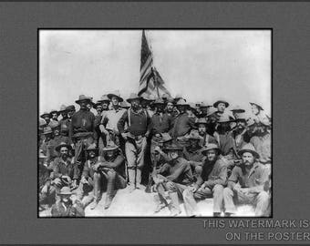 Poster, Many Sizes Available; Theodore Roosevelt Stands Triumphant On San Juan Hill, Cuba After His Rough Riders
