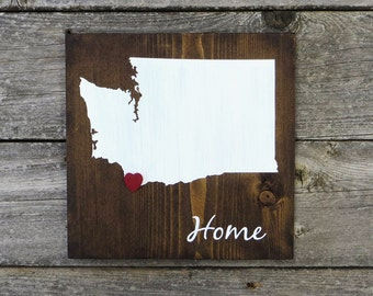 "Rustic Wood State Sign ""Home State"", Washington State Home, Home State Pride - 9.25""x9.25"" All States Available - Dark Walnut or Gray"
