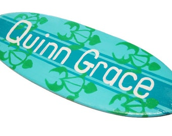 Personalized Surfboard Wall Art, 18 inch Surfboard Last Name Sign, Personalized Sign, Beach Nursery Decor