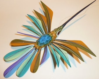 Heavenly Hummingbird Oaxacan Woodcarving Alebrijes by Zeny Fuentes - blue and Pink varieties