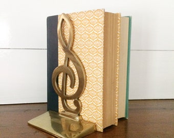 Solid Brass Treble Clef Single Bookend