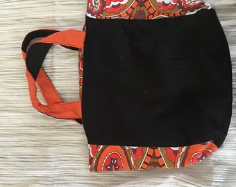Reversible tote bag with vintage fabric