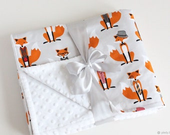 White minky baby blanket;red fox toddler blanket;personalized soft blanket for newborn;nursery bedding;cotton baby blanket for boy and girl