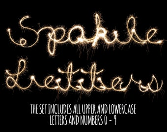 Sparkler Letters and Numbers Photoshop Overlays,  Photoshop Overlays, Sparklers Overlays, Wedding Sparklers Overlay, Instant Download