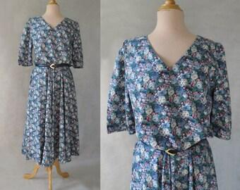 1970s, 1980s Vintage Dress - Blue Floral Dress With Full Skirt - Bust 101 cm