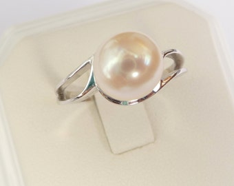 Pearl engagement ring white gold pearl ring womens ring promise ring 9mm pearl smooth white  14k solid gold
