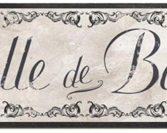 Salle de Bain sign, French Victorian Bath, French Wall sign, Vintage French bath Decor, French Bath Sign
