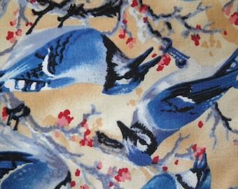 Blue jay Fabric Bird Fabric Cotton Calico 2 Yards *