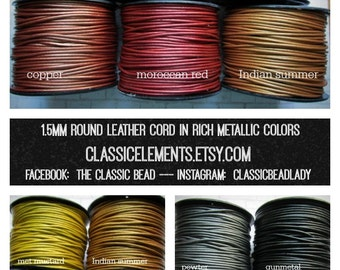 1.5mm Rich Metallic Round Leather Cord, 1.5, Metallic Leather Cord, 1.5mm Leather, Leather Cord, Metallic Leather Cord, Metallic Leather
