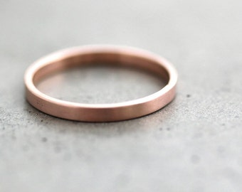 Rose Gold Wedding Band Stackable Ring, 2mm Slim Flat Recycled 14k Rose Gold Ring Brushed Pink Gold Wedding Ring or Stacking Ring