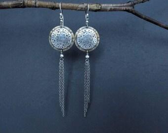 Sterling Silver Long Mixed Metal Earrings Chain Earrings Artisan Metalsmith OOAK