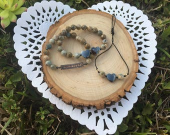Semi precious beads set of bracelets for women hematite, sterling silver now available! Costum your order , I can help you.