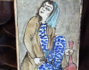 antique ceramic contemporary lady tile art