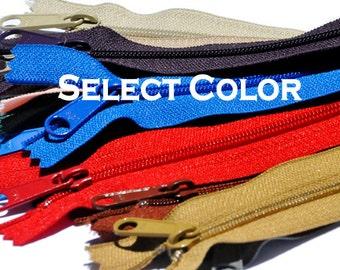 YKK ZIPPER- 9 inch Long Pull Handbag  YKK Zipper Number 4.5  Closed Bottom  (By Each) - Select Color