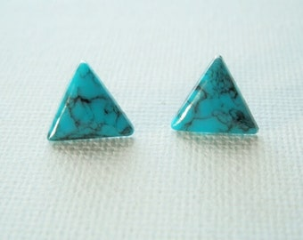 Turquoise Earrings - Triangle Earrings - Turquoise Earring - Turquoise Stud