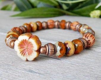 Nature Jewelry, Flower Bracelet, Nature Bracelet, Beaded Bracelet, Orange Bracelet, Boho Bracelet, Bead Bracelet, Hippie Bracelet, Flower