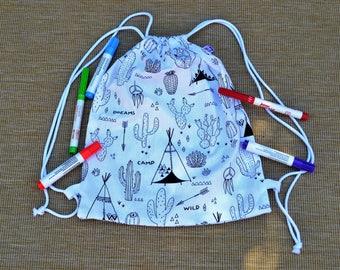 Bag fabric backpack nursery, kindergarten bag, ponchon bag coloring, coloring, snack, blanket, poncho, bag pool bag