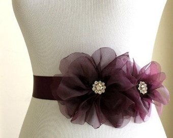 Aubergine Eggplant Organza Bridal Sash with Aubergine Ribbon, Eggplant Bridal Sash, Aubergine Wedding Belt
