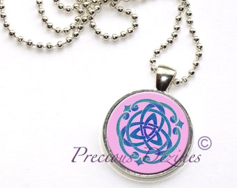 Trinity Knot Pendant. Triquetra trinity knot Celtic knot necklace in pink and blues
