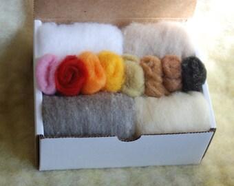 Wool Batting, Needle Felting Core Fiber Kit, Sampler Pack, DIY Kit, Needle Felting Wool, Christmas Gift
