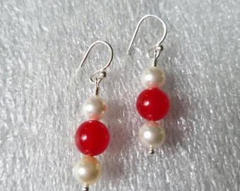 Red Amber and Swarovski Pearl Silver Earrings