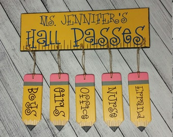 Hall Passes Set, Hall Pass, Hall Passes Board, Teacher appreciation, Teacher Gifts, School gifts