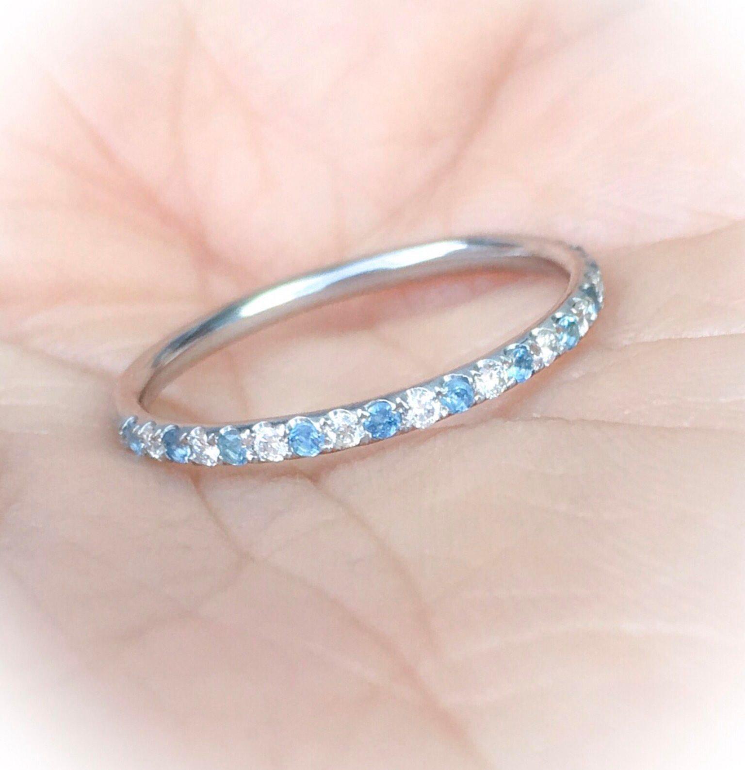 Diamond and Aquamarine Platinum Half Eternity Band Alternating