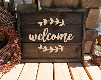 Welcome Wood Plank Sign - Rustic, Distressed, Country, Farmhouse, Porch, Vintage, CNC Router, Raised Lettering