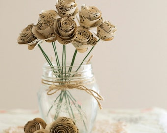 40 x Small Music Paper Rose Stems
