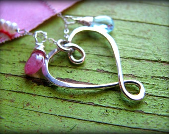 Medium Infinity Heart & Two (2) Birthstones Necklace - Gift Birthday Valentines day Galentines Best Friend Sisters Wife Girlfriend Daughter