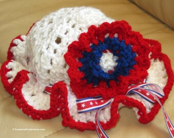 Baby Toddler Patriotic Bonnet Hat - 9 Months-4 Years - Red White Blue - Adjustable Ribbon Bow - Designed and Hand Crocheted in USA Item 4530