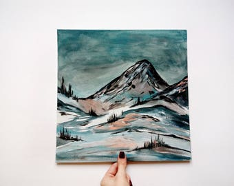 Acrylic mountains landscape original painting cardboard canvas art Landscape painting Mountains painting