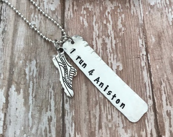 I run 4 personalized necklace. Personalized Hand Stamped Runner's Necklace.  Running buddy.  I run for. Shoe charm.