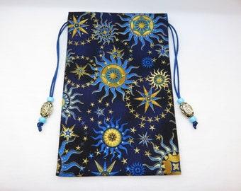 "Stargazers Celestial Giant Sized Satin Lined Tarot Bag, Tarot Pouch, Handmade 5 1/2"" x 8 1/2"""