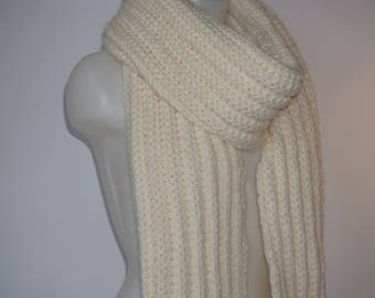Knit scarf, long knit scarf, knit shawl, womens fashion accessory, chunky Knit scarf in cream, cozy softness, knit scarves
