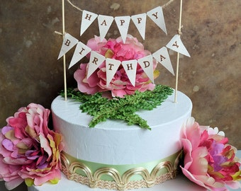 "Birthday cake topper banner ...Rustic look ""Happy Birthday"" pennant banner for your next birthday celebration"