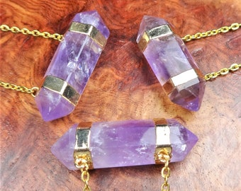 Amethyst Necklace - Purple Double Terminated Crystal Point Balance Connector Pendant Gold Plated Jewelry (A50) Healing Crystals and Stones