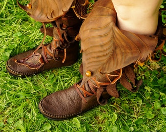 Knee High Evolution Boot / Tall Moccasin Hand Stitched Bullhide With Cowhide Leaf Applique / Renaissance Festival Brown