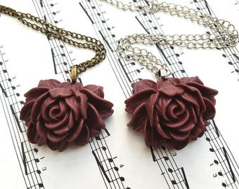 Cabbage rose necklace, wine, maroon, burgundy, vintage inspired style