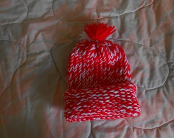 Hand knit Red & White Baby Hat