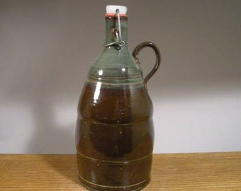 Ceramic Beer Growler , Handmade stoneware pottery flip top growler , 64oz Beer Growler for keeping that brew carbonated !
