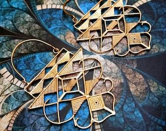 Big geometric Earrings, Tribal Brass Earrings. Drop Earrings, Brass Tribal Earrings, Boho Earrings. Gypsy Earrings. Ethnic Earrings