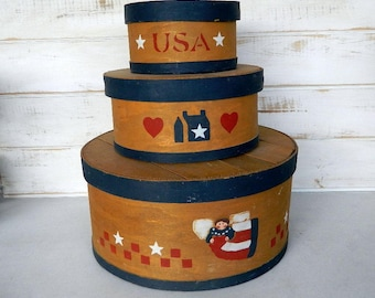 Shaker Boxes - Primitive Farmhouse Country Decor - 3 Nesting Wood Boxes - Americana Decor
