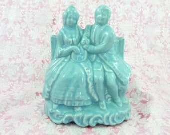 Vintage Blue Victorian Couple Planter Figurine Shabby Chic