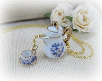 Porcelain Teapot And Teacup Blue Onion Design Pouring The Tea Necklace Miniature Teapot And Teacup